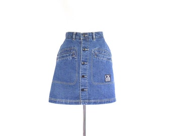 Jean Mini Skirt. High Waisted. Vintage Calvin Klein Denim Button Up Circle Skirt. Extra Small - Small