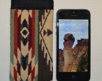 iphone sleeve se - iphone 5 5s cover case sleeve wallet handmade of Wool Native American wool fabric southwestern - iPhone wallet