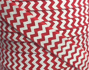 "Red with White Chevron- FOE-You Choose Yards-Print Elastic- Elastic by the Yard-Fold Over Elastic-DIY-Headbands 5/8"""
