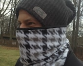 Men's Black and white, Running Scarf, cowl, gator, Ski Mask, snood, tube scarfe