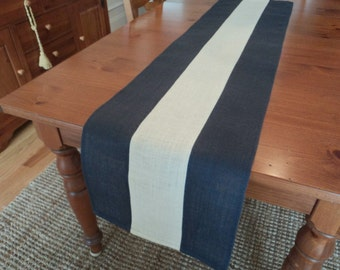 Delightful Navy Blue And Off White Burlap Table Runner Blue Home Decor Modern Rustic  Table Setting Nautical