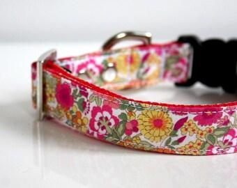 Petit Floral Dog Collar - pink