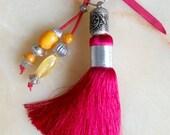 Moroccan accessory - fuchsia art silk tassel - beaded  pendent  - moroccan art