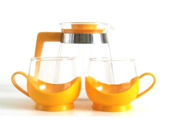 Melitta Roly Poly Coffee Cup & Glass Coffee Carafe Yellow Plastic Base Schot Mainz Jena Glas Teapots
