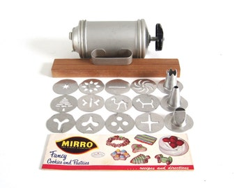 Mirro Cookie Press Vintage Hand Crank Cookie Maker Complete