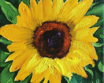 Original oil painting:   Sunflower study  deep canvas, floral, small painting, kitchen art