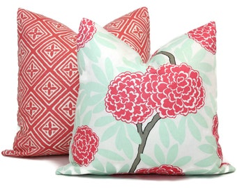 Decorative Pillow Cover in Caitlin Wilson Aqua and Pink Floral 18x18, 20x20, 22x22 Eurosham, or Lumbar pillow, Throw Pillow, Toss Pillow