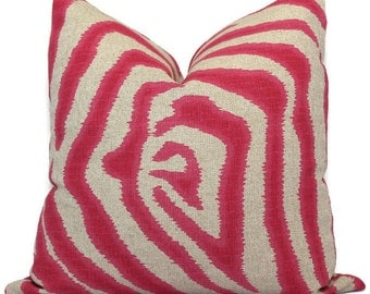 Magenta Zebra Decorative Pillow Cover, Throw Pillow, Accent Pillow, Pillow Sham made with Lacefield Textiles