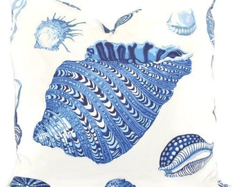 Pillow Cover Blue and White Seashell Decorative Pillow Square, Eurosham or lumbar pillow cover, accent pillow, pillow case, beach decor