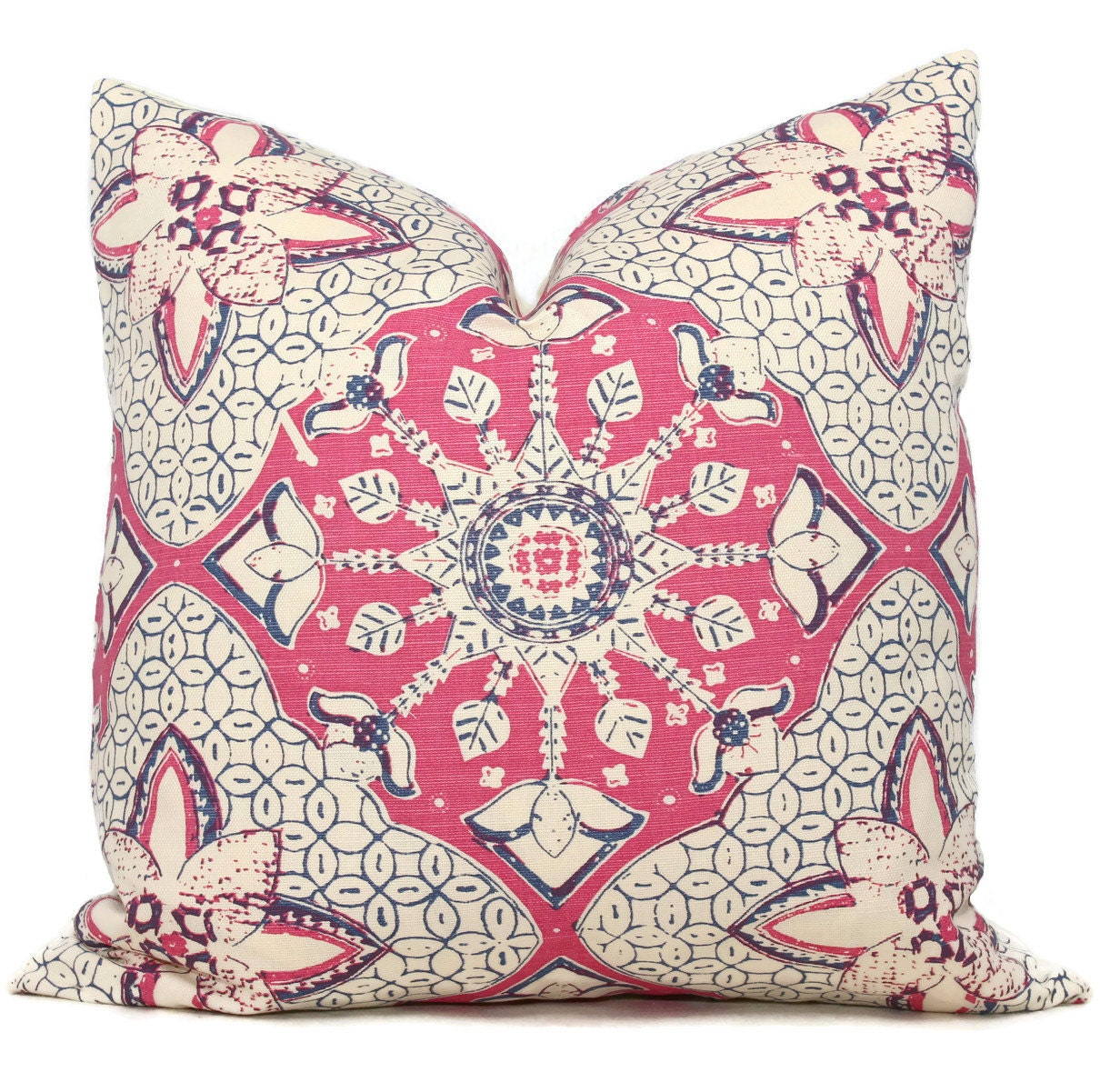 Queen Throw Pillows : Quadrille China Seas New Batik Magenta and Blue Pillow Cover