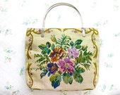 Tapestry Bag - Colorful Flowers - Boho Small Handbag - Vintage Top Handle Bag