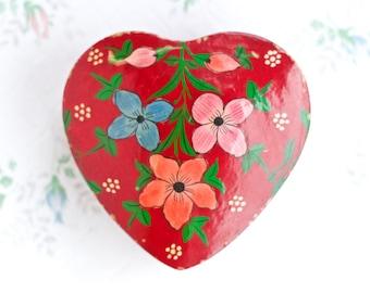 Red Heart Box - Russian Lacquer - Small Jewelry Box - Boho Home Decor