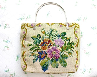 Colorful Flowers Small Handbag - Vintage Tapestry Bag
