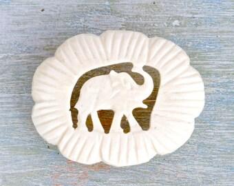 Elephant Lapel Pin - Carved Bone Vintage Brooch - Natural Boho Jewelry