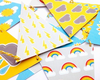 Cute Weather themed Bunting with Striped String