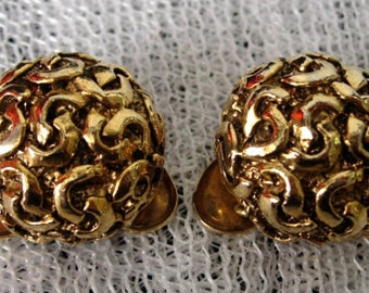 Vintage MUSI Round Shoe Clips - Gold Tone - Signed