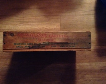 Vintage Wood Ammunition Crate, Remington Arms Ammo Crate, Wood Ammo Box
