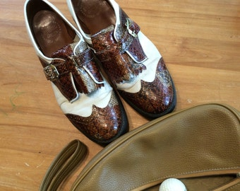 Vintage 1960s Etonic Queen Golf shoes metal cleats size 8-9 with bag by sunandpearl on etsy