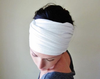 WHITE Hair Wrap - Extra Wide Jersey Head Scarf - Jersey Workout Accessories - White Yoga Headband - Bohemian Hair Accessories - Boho Love