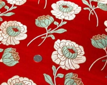 chinese traditional golden lotus flower red tapestry satin brocade silk fabric one yard for diy