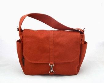 20% SALE back to school VESTER // Burnt Orange / Lined with Beige / 106 // Ship in 3 days // Messenger / Diaper bag / Shoulder bag / Tote /