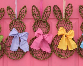 Spring Wreath Mini  -  Bunny Wreath Mini - Easter Decoration - Quick Ship-