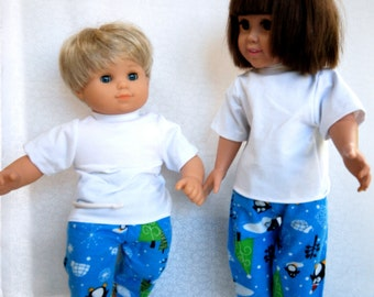 Winter flannel Lounge pants with short sleeved white Shirt for 15 and 18 inch Dolls