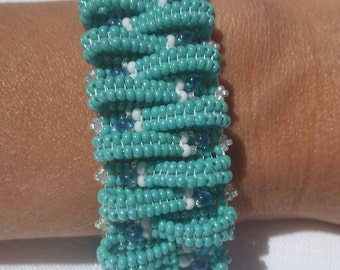 handmade bracelet, beaded bracelet, seed bead bracelet, hand woven bracelet, turquoise beaded bracelet, basket weave bracelet