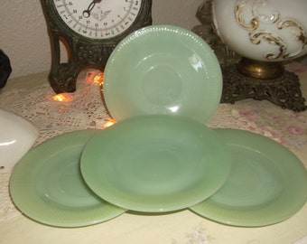 Lot 4 pc. Fire King Jane Ray Saucers Jadite Shabby Cottage