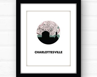 Charlottesville VA map | Charlottesville map | University of Virginia map art | Virginia map print | Virginia wall art | dorm room decor