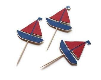 Sailboat cupcake toppers or party picks - choose your quantity & colors