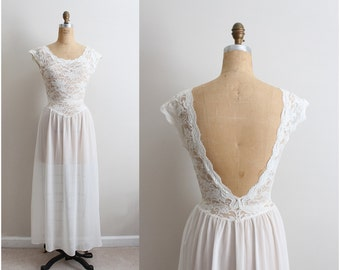 Vintage 80's White lace Nightgown Slip Dress / Full Slip / Wedding Slip / Lace lingerie / Crochet Dress/ Size S/M