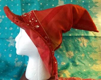 Witch Hat, red, orange, adult, ribbon, sequins, silk, sari silk, indian silk, boho, Halloween, Samhain, costume, lined hat, sorting hat