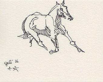 Horse Original Ink Sketch, Animal Art, Contemporary Original Fine Art, Quick Study