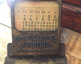 Vintage antique miniature advertising clip board with calendar Boston antique advertising