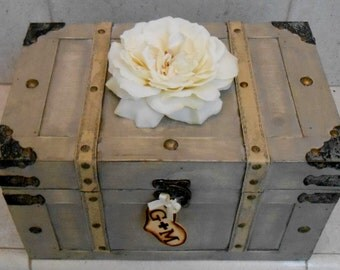 Wedding Card Trunk / Large Wedding Card Box / Grey And Ivory Wooden Trunk / Wedding Decorations / Large Wedding Card Holder / Rustic Wedding