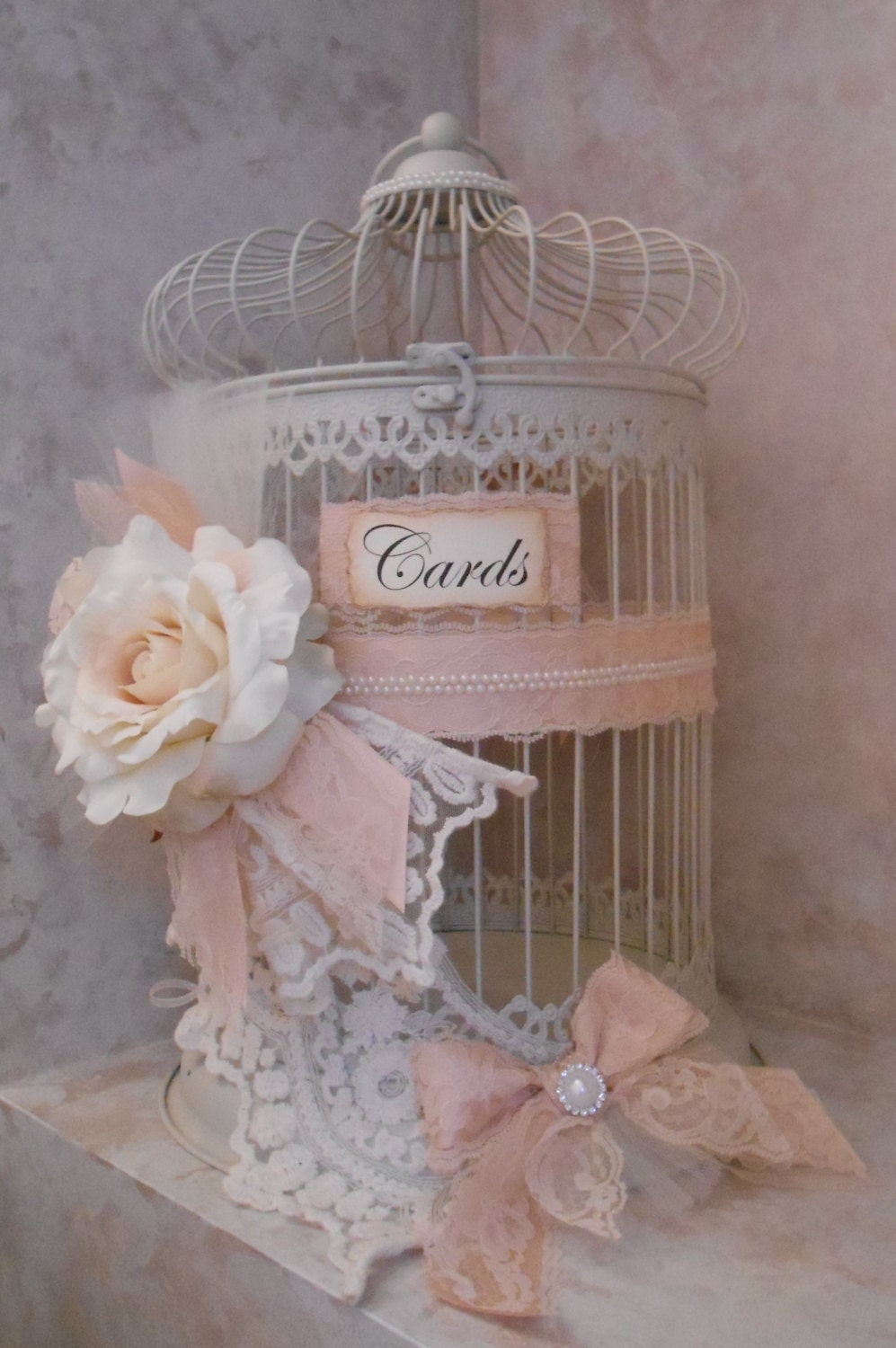 Vintage Wedding Gift Card Holder : SALE / Birdcage Wedding Card Holder / Vintage Wedding / Blush