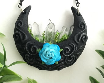 Dark Forest - Crescent Moon Glow in the Dark Planter Crystal Necklace