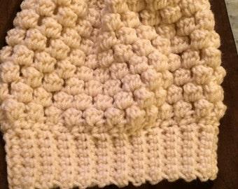 Ivory Puff Stitch Slouchy Beanie