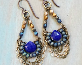 Lapis Lazuli Drop Earrings, Glass, Chain, Lightweight, One-of-a-kind, *Ready-to-ship*
