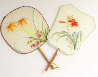 2 Vintage Silk Bamboo Hand Painted Orange Lily Paddle Fans Peoples Republic