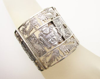 Large Peruvian Inca Sterling Panel Bracelet signed Farro 2 inches tall Open Work