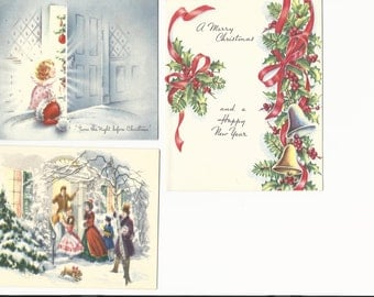 Vintage Christmas Cards Twas the Night Before Christmas, Set of 3 Cards