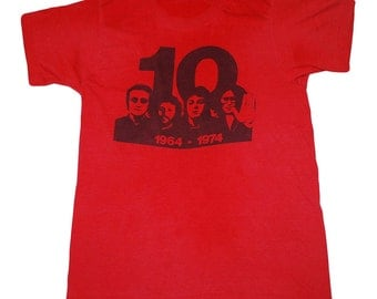 The Beatles Shirt Vintage tshirt 1974 10th Anniversary Promo Rare 1970s Original Boys From Liverpool Band tee rock classic