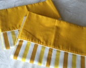 Vintage Pillowcases, 1970s Yellow , mustard and white stripe, Glamping