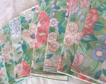 Vintage Napkin Set- Pink and  Mint Green Floral