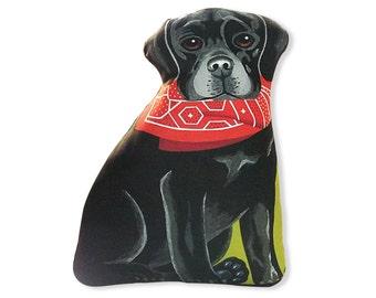 Black Labrador Retriever -  Front only - Dog Pillow - Stuffed Animal