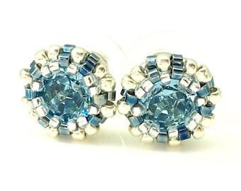 Aquamarine beaded swarovski stud earrings