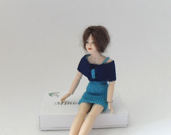 Dollhouse Miniature Cocktail Dress, Shoulder Wrap 1:12 Scale Outfit for Heidi Ott Lady Doll, Hand Knit Turquoise, Navy Blue  by Miniaturejoy