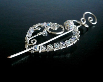 Heart Shawl Pin, Scarf Pin, Fibula, Sweater Brooch, Knitting Accessories, Silver Wire pin